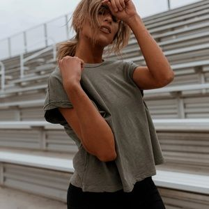 Free People Boxy Crop Rock You Tee Washed Army NWT
